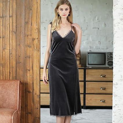 YAN Albornoz de Lujo Sling Camisón para Mujer Abierto Lateral Pijama Sexy de Encaje para el