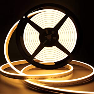 Dimmable LED Strip Light Neon Rope Lights Outdoor Warm White LED Strip Lights Silicone 15000K Heat-Resistant Flexible Neon Light Rope Waterproof for Indoor Outdoor Home Decoration (Warm White)
