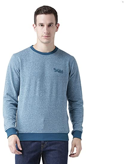 6008e016e2e Club York Men s Blue Self Design Long Sleeves Round Neck Sweatshirt with  Embroidery Logo  Amazon.in  Clothing   Accessories