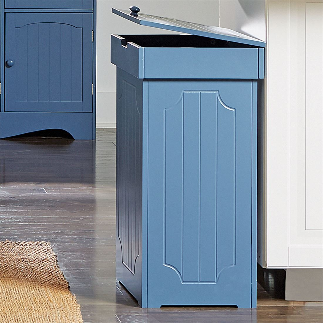 Amazon.com: Brylanehome Country Kitchen Trash Bin (Blue,0): Home ...
