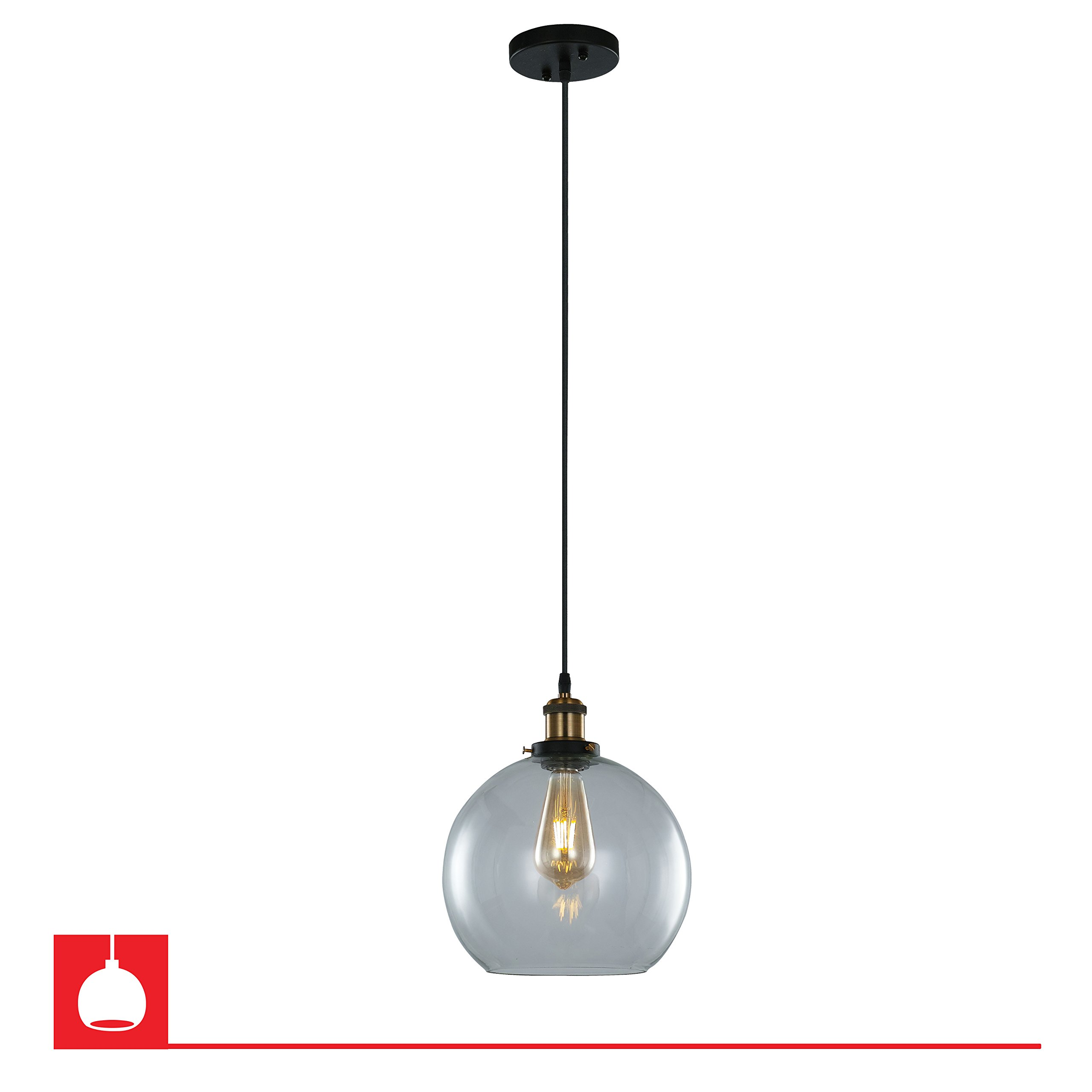 Winfield Circular Single Bulb Encased Pendant Fixture – Brown Bronze, 25 X 28CM Shade