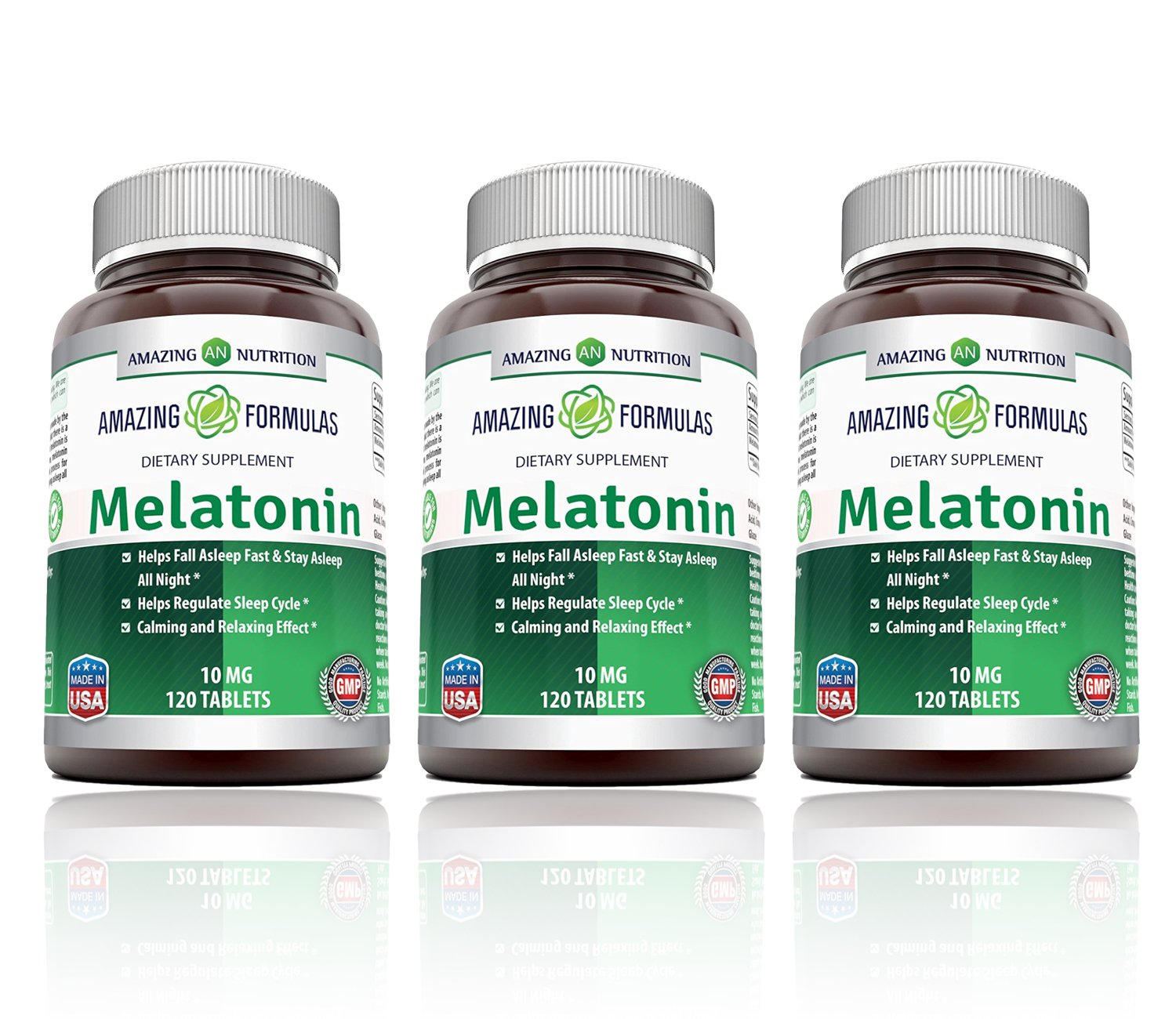 Amazing Nutrition Melatonin for Relaxation and Sleep, 10 Mg, Pack of 3, 120 Tablets Each