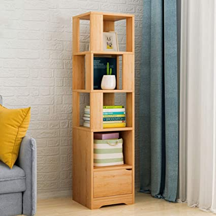 HMDX Wood Storage Bookcase Corner Bookshelf Tall Narrow Contemporary Display Rack For Home Office B