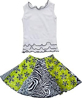 product image for Cheeky Banana Little Girls Panel Flared Skirt & Tee Lime/Black & White