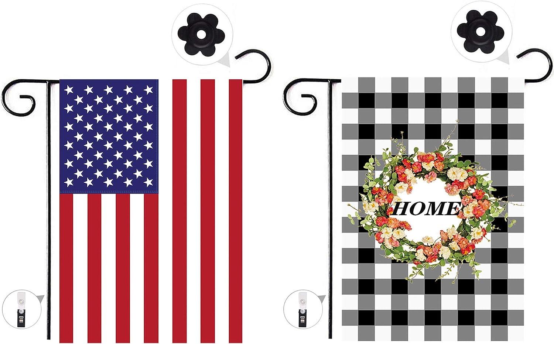 Garden Flag American Flag,2 Burlap Garden Flags 12.5x18.5 Double Sided,USA Garden Outdoor Flag Decor For Home And Garden HAIAISO
