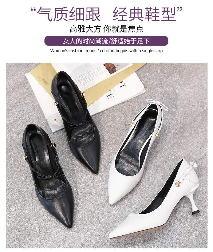 noir noir SHUAI Wohommes chaussures Boucle à Un Bouton avec Talons Hauts Pointus en Cuir à Bouche Peu Profonde  magasiner en ligne aujourd'hui