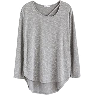 56d2409312530 Cinlan Cotton Long Sleeves T-shirt Collar Hollow Tunic Tops Loose Basic  Shirt