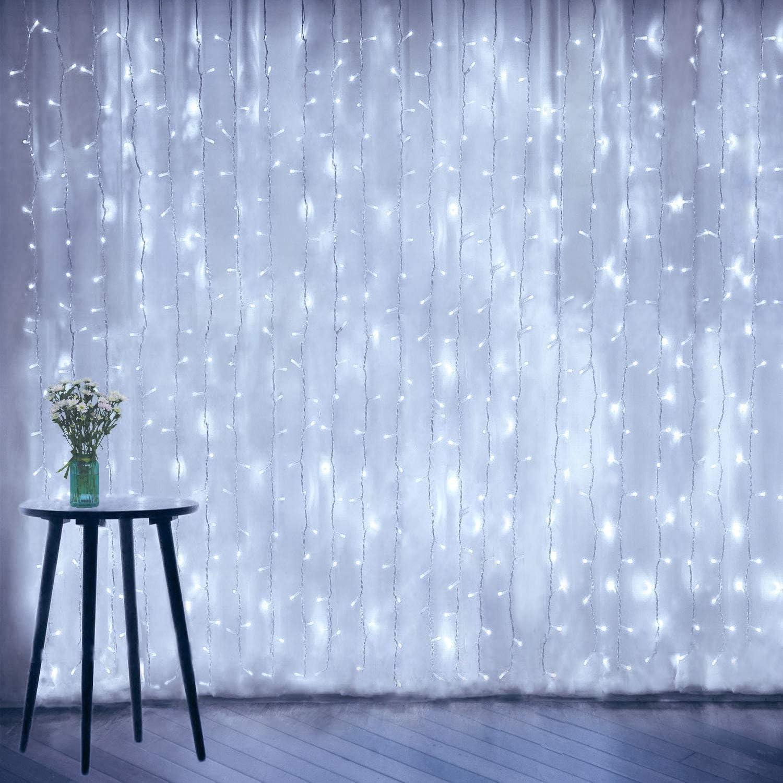 Amadecohome Curtain String Lights, Window Fairy geführt Icicle Xmas Lights für Wedding Party Garden Zimmer Outdoor Indoor Wand Decorations(kühlen White)