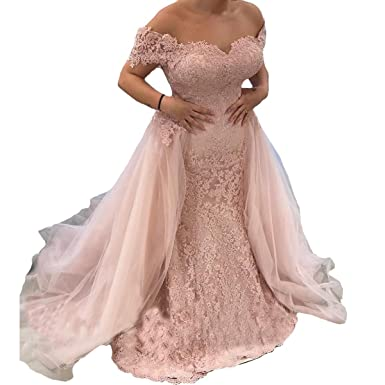 Sound of blossoming Off Shoulder Lace Mermaid Prom Dresses Long 2018 Tulle Formal Evening Party Gown191