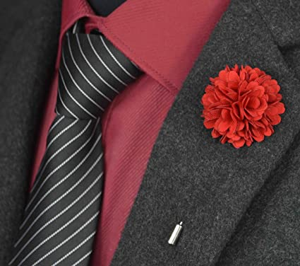 2fcab084c59 Image Unavailable. Image not available for. Color: USIX 6PC Pack-Handmade Men's  Lapel Pin Fabric Flower Decor Boutonniere Pin for Suit Wedding