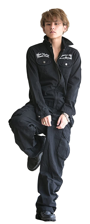 つなぎ メンズ ツナギ お兄系 BERNINGS-SHO(バーニングスショウ) クロスボーン スカル刺繍 ミリタリー 2018 おまけ付き B0779BW75G Lサイズ|ブラック