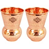 Indian Art Villa Hammered Copper Glass Tumbler, Drinkware & Serveware Set (300 ml Each, Set Of 2)