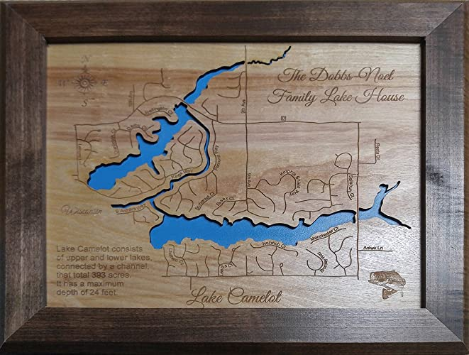 Amazon.com: Lake Camelot, Wisconsin: Framed Wood Map Wall Hanging