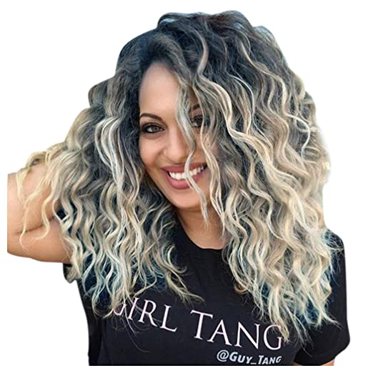 Inkach Short Wigs Fashion Black Women Curly Hair Wigs Hairstyle Heat Resistant Synthetic Wigs