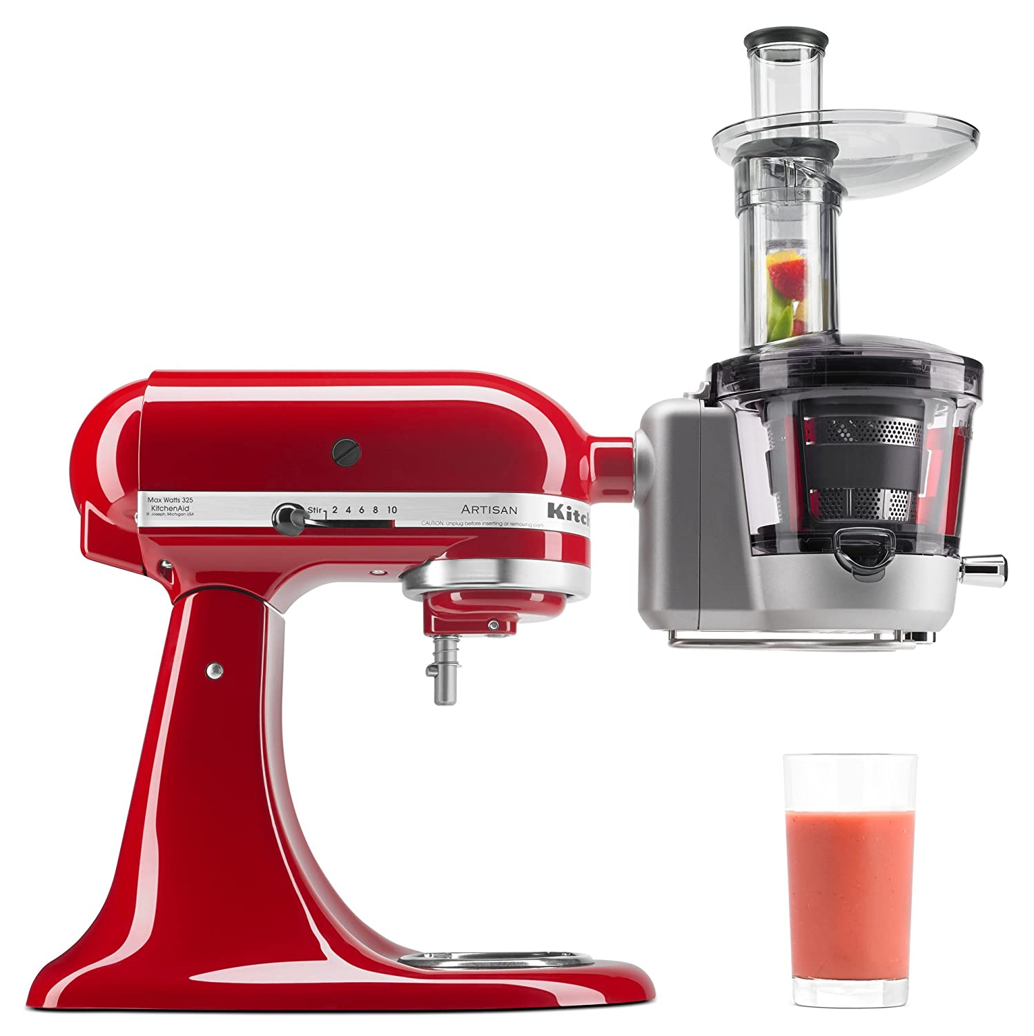 KitchenAid KSM1JA Masticating Juicer and Sauce Attachment, 1L Silver