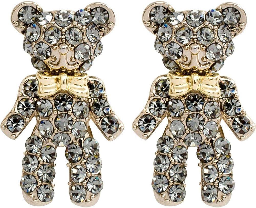 Pendientes de plata 925, pendientes de oso de diamantes de bebé, accesorios para mujer 1 * 1.7cm