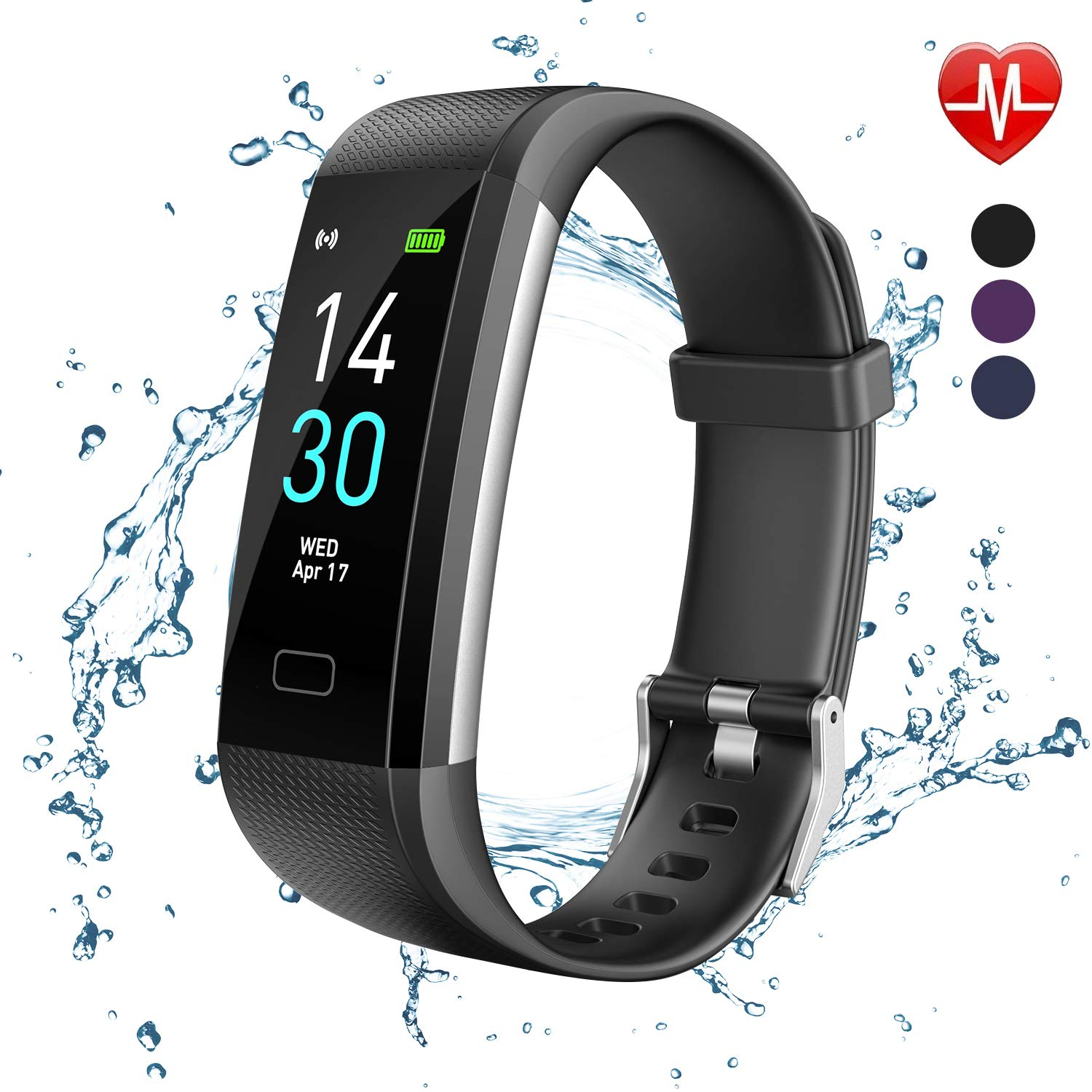 Fitness Tracker, Activity Tracker Watch With Heart Rate Monitor, Message Notification, Waterproof IP68 Pedometer With Step Counter Sleep Monitor Calorie Counter For Android IPhone