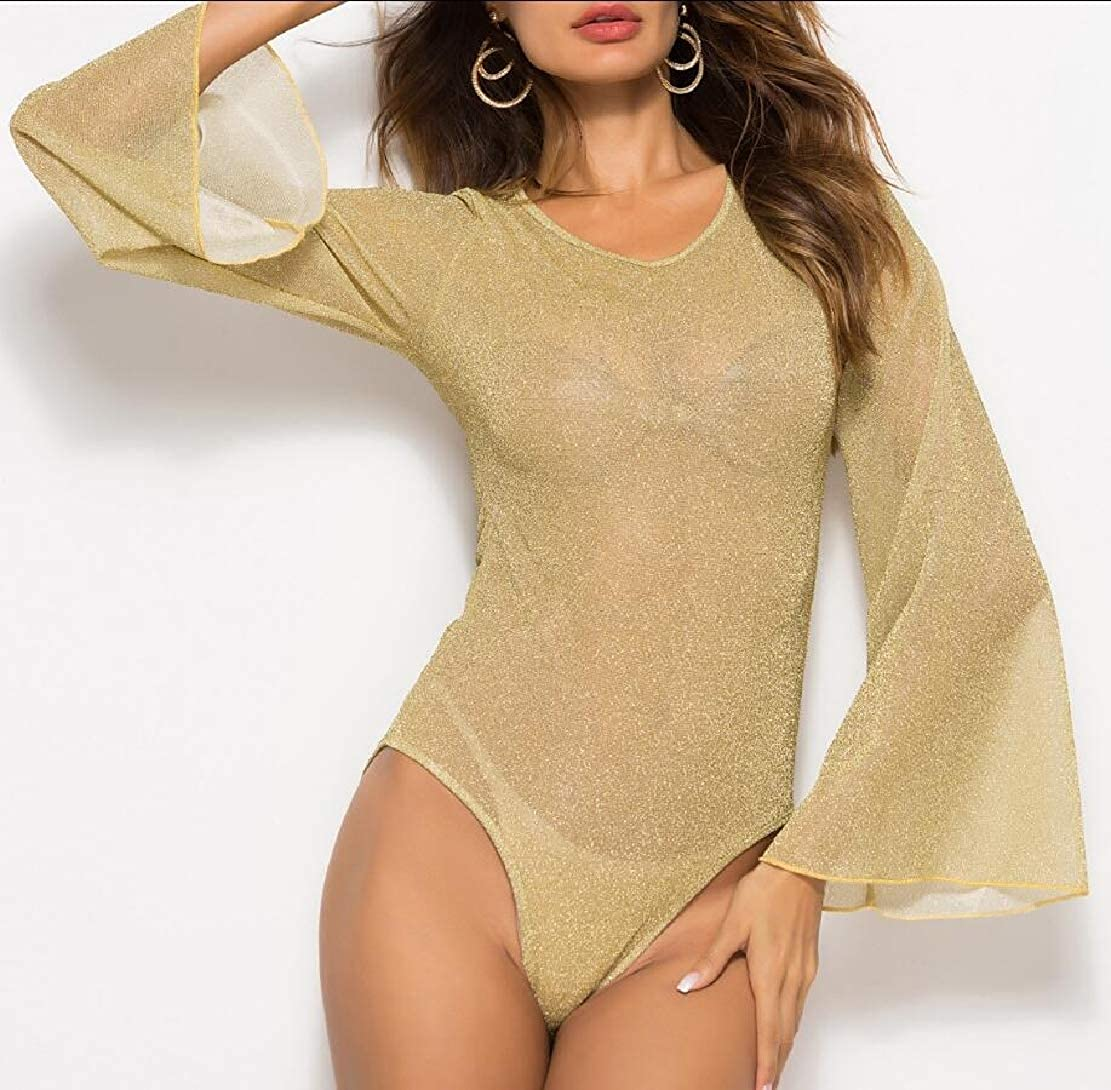 WSPLYSPJY Womens One Piece Glitter Sheer Mesh Stretchy Bodysuit Blouse Long Bell Sleeves Tops
