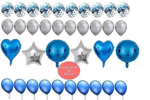 Globos Baby Shower Fiesta Cumpleaños Niño Azul Plata | Paquete 36 Piezas Globos Metálicos Latex Confeti | Boda Bautizo