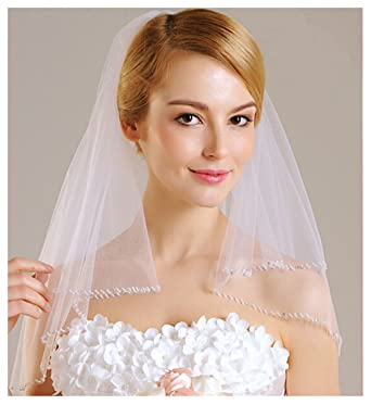 AliceHouse Women\'s White 2 Tier Beaded Edge Short Wedding Veil ...