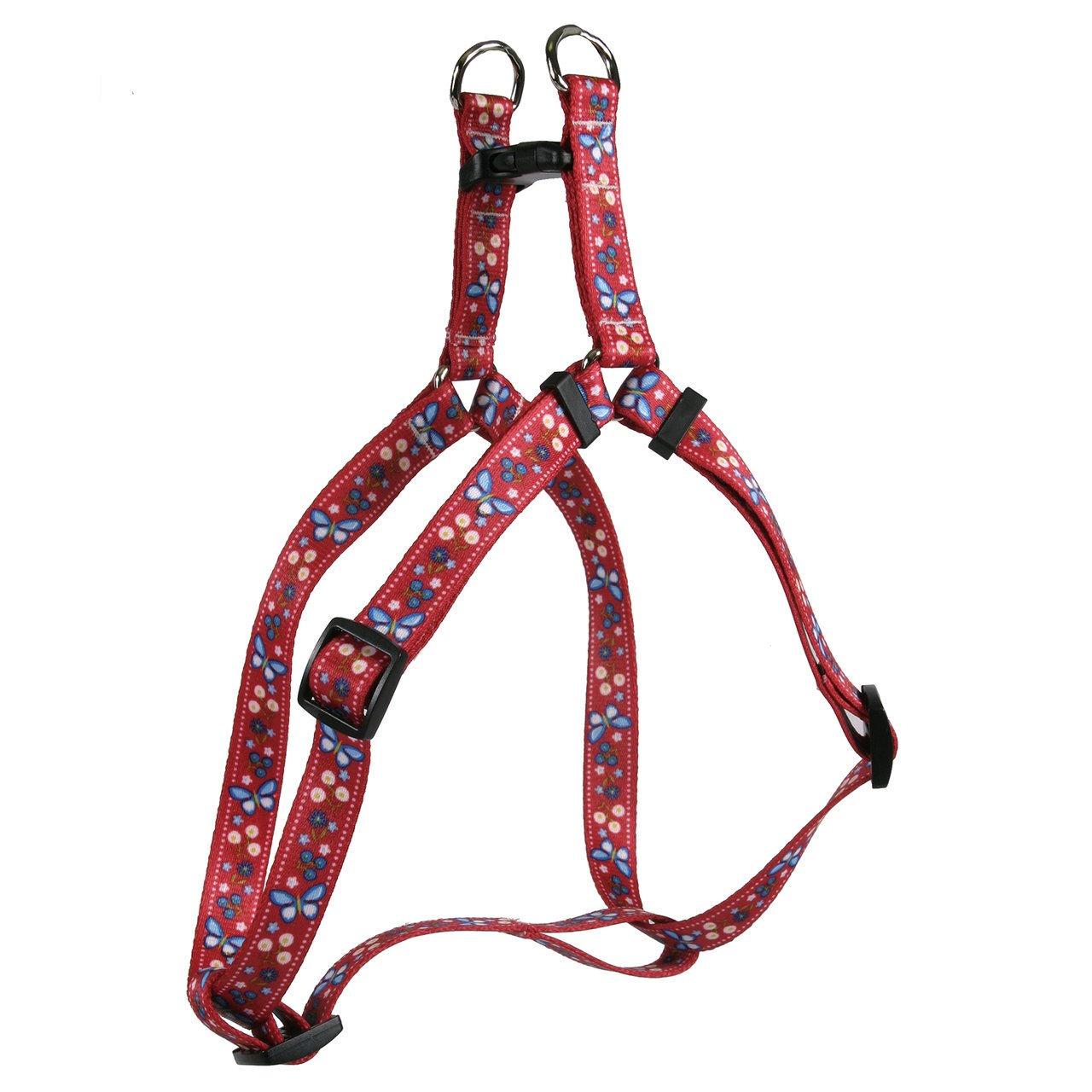 Yellow Dog Design Festive Butterfly Red Step-in Dog Harness, Small by Yellow Dog Design