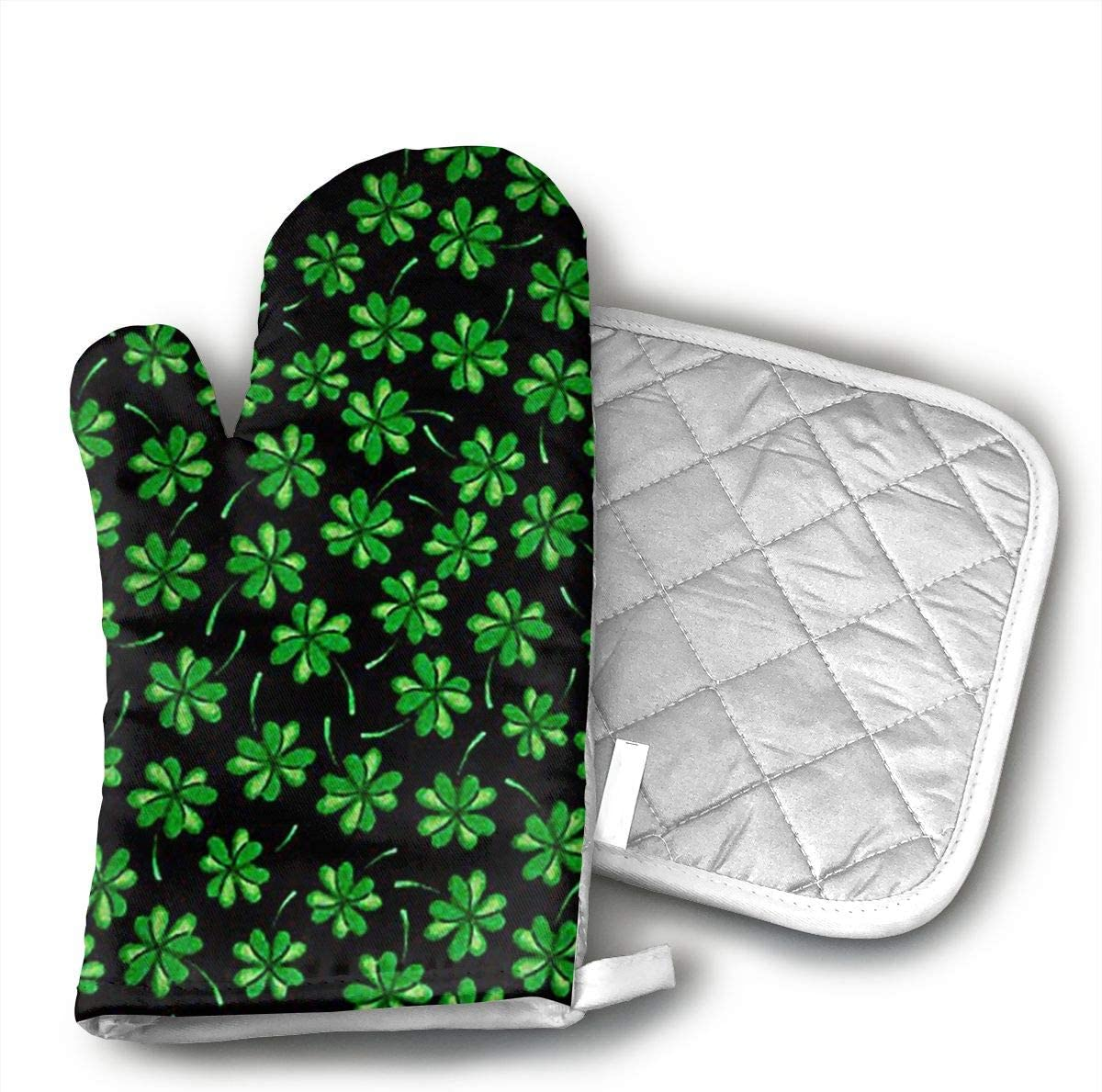 not Shamrocks Tossed Shamrocks Black Oven Gloves, Smart Home, Long, Mittens, Heat Resistant, Extra Thick, Quilted