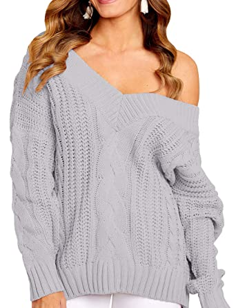dc3dcdcf047 Gobought Womens Sexy Cable Sweater One Shoulder V Neck Long Sleeve Chunky Knit  Pullover Jumper at Amazon Women s Clothing store