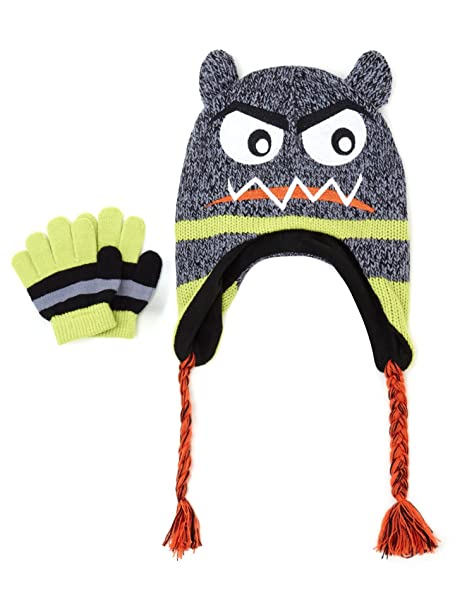d8ca09b89ab Amazon.com  Capelli Kid s Smash Monster Marled Earflap Beanie with ...