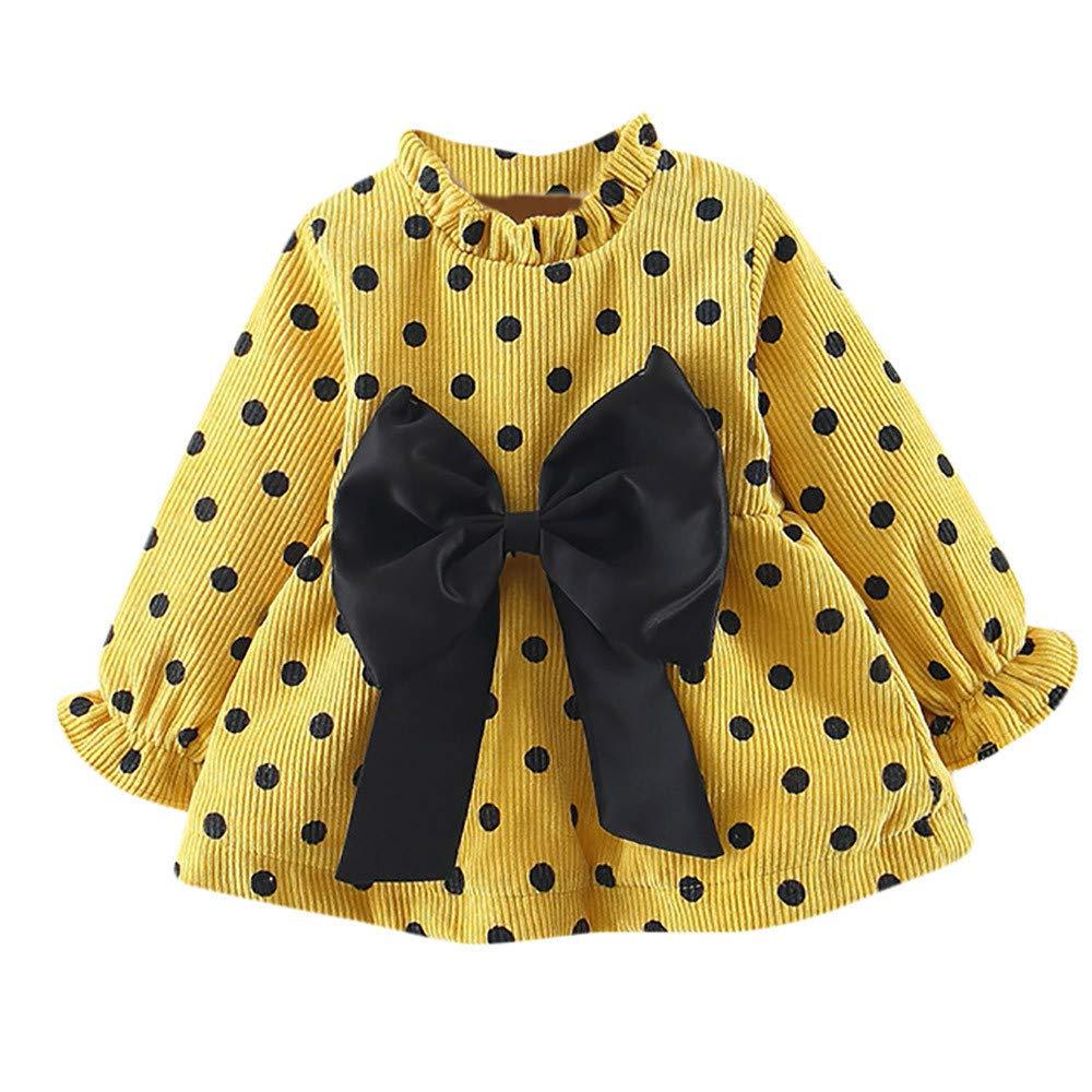 cinnamou Baby Langarm Kleid Polka Dot Bogen und SAMT gepolstert Mädchen Schönes Kleid 6-24 Monate