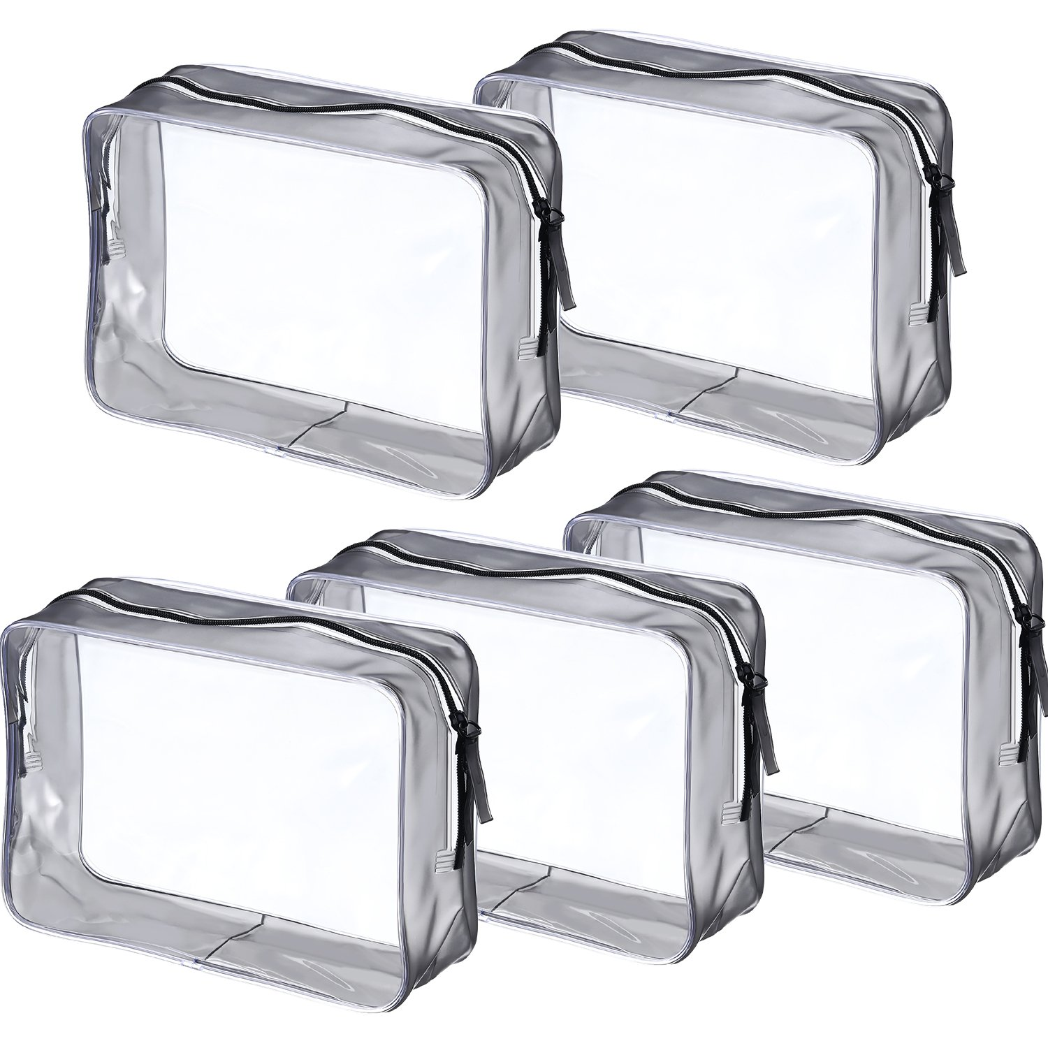 Pangda 5 Pack Clear PVC Zippered Toiletry Carry Pouch Portable Cosmetic Makeup Bag for Vacation, Bathroom and Organizing (Small, Transparent)
