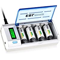 EBL 906 Smart Charger for AA AAA C D 9V Rechargeable Batteries with 4 Pieces 5000mAh C Rechargeable Batteries