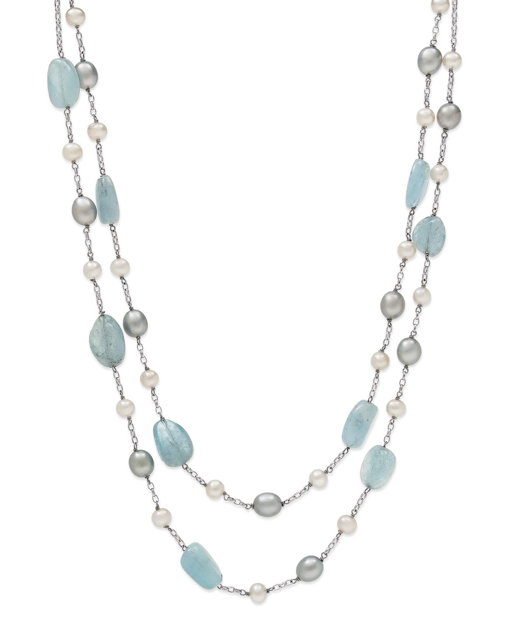 Belacqua Natural Aquamarine & Cultured Freshwater Pearl Layered Station Chain Necklace by Belacqua