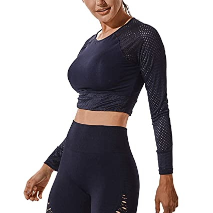 39b6adc9bac RIOJOY Long Sleeve Crop Tops for Women Compression Sexy Mesh Yoga Wrap Cropped  Shirts-Comfortable