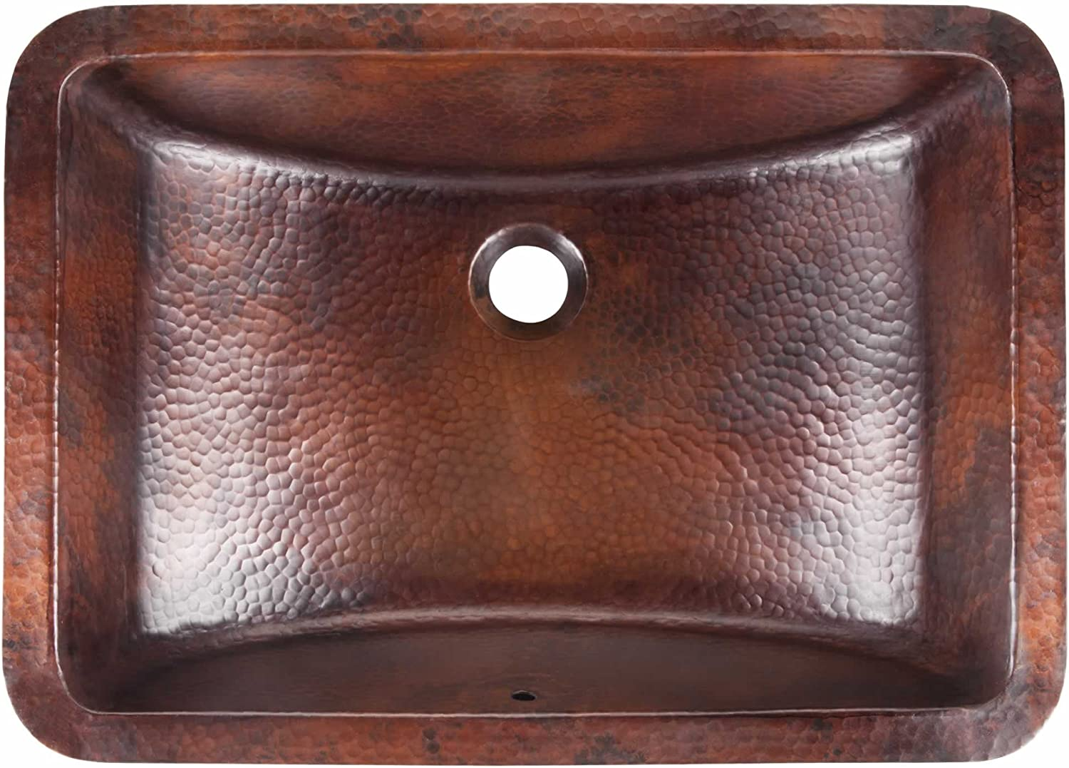 Sinkology SB206-21AG Curie Undermount Handmade Pure Solid Bath Sink with Overflow 21 Aged Copper