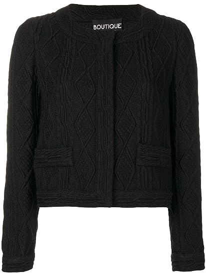 2d3ed42c66 Boutique Moschino Women's A050458210555 Black Acrylic Jacket: Amazon.co.uk:  Clothing