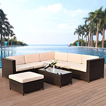 Amazon Tangkula 7 PCS Patio Wicker Furniture Set Outdoor