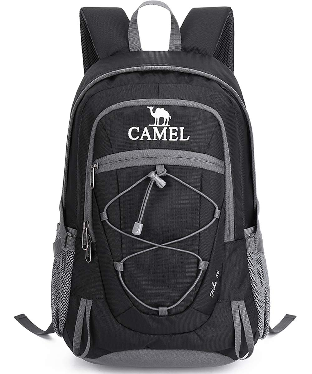 Amazon.com   Camel Hiking Backpack 30L Travel Camping Backpack Lightweight  Water Resistant Daypack Outdoor Backpacks for Men and Women (Black)    Sports   ... c3931c0c35