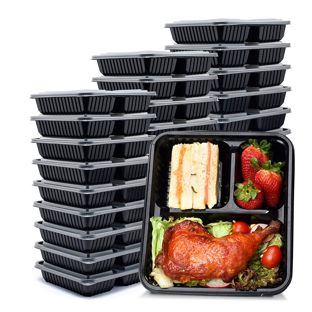 Glotoch [40 Pack] 34oz 3 Compartment Meal Prep Containers with Lids -upgrade design Food Storage Containers Bento Box Lunch Box Made of BPA Free Plastic, Stackable, Reusable, Microwavable, Freezer
