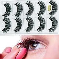 CESHUMD 3D Faux Cils Effet Naturel Professionnel 5 Paires, Longue Extension de Cils pour Femmes Maquillage Doux Faux Cils (G800)