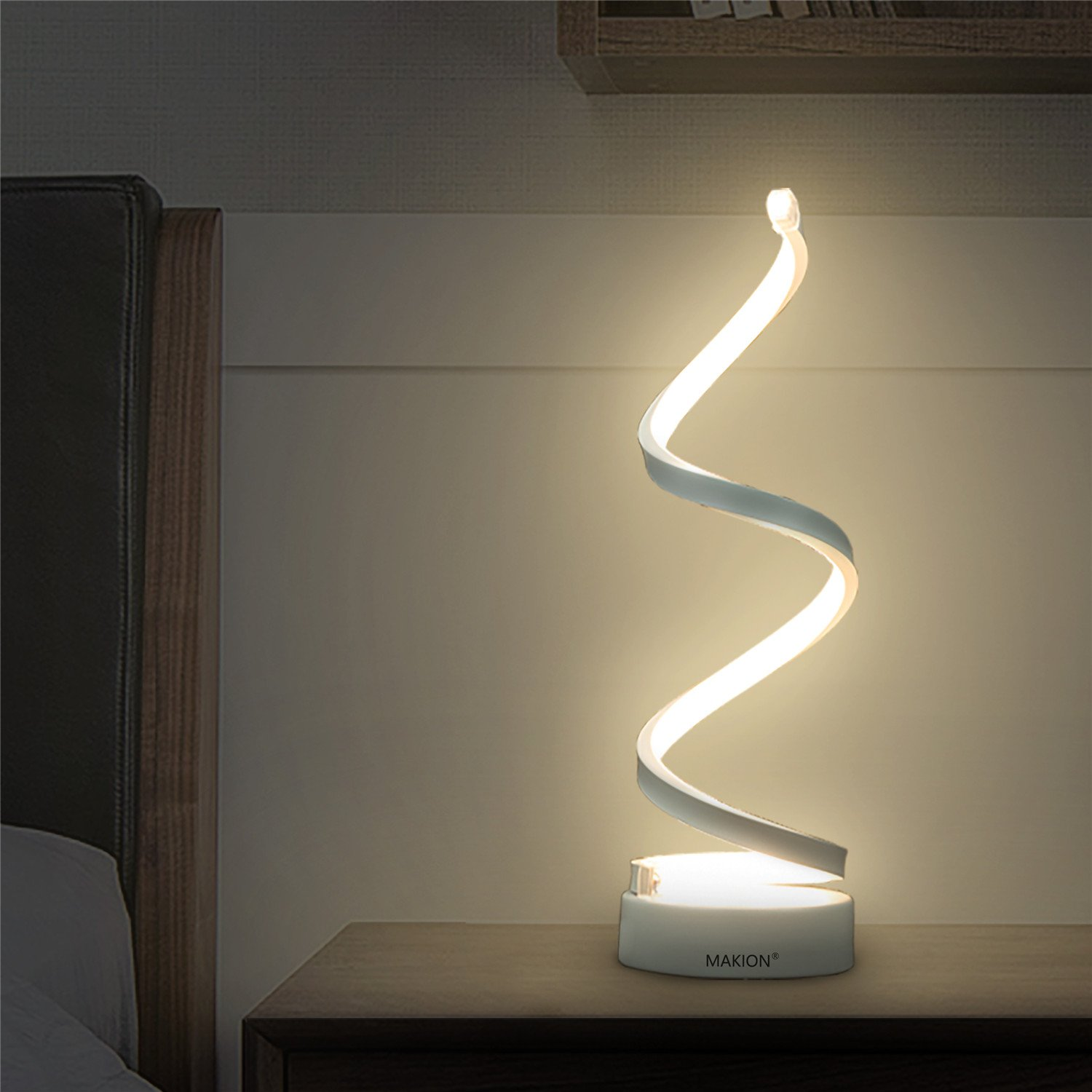 ویکالا · خرید  اصل اورجینال · خرید از آمازون · Makion Spiral LED Table Lamp, Curved LED Desk Lamp, Contemporary Minimalist Lighting Design, Warm White Light,Smart Acrylic Material Perfect for Bedroom Living Room (White) wekala · ویکالا