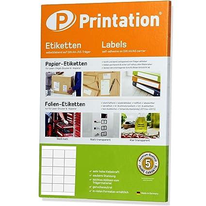 selbstklebend 100 Blatt 1500 Etiketten A4 Bogen 50 x 50 mm Papier weiß
