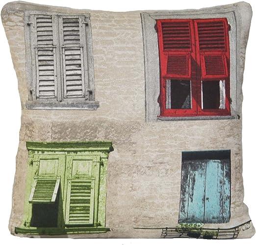 postigos Mediterráneo estilo almohada patrón ventana, Italia Cojín, España Funda de cojín, 40 x 40 cm: Amazon.es: Jardín