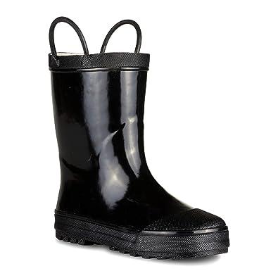 Chillipop SBR001P-BLACK-T5 Boys Rain Boots - Black Toddler Boot Easy on  Handle
