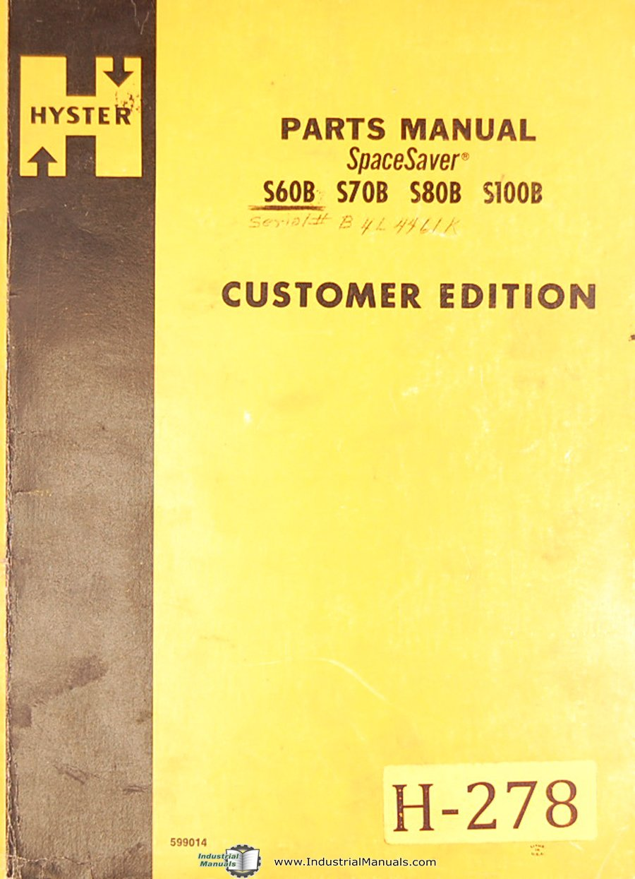 Hyster S80B Forklift Service Manual: Misc. Tractors Manuals: 6301147681133:  Amazon.com: Books