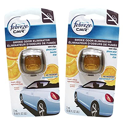 Febreze Car Vent Clips Air Freshener Smoke Odor Eliminator, Citrus Scent 2 Pack: Health & Personal Care