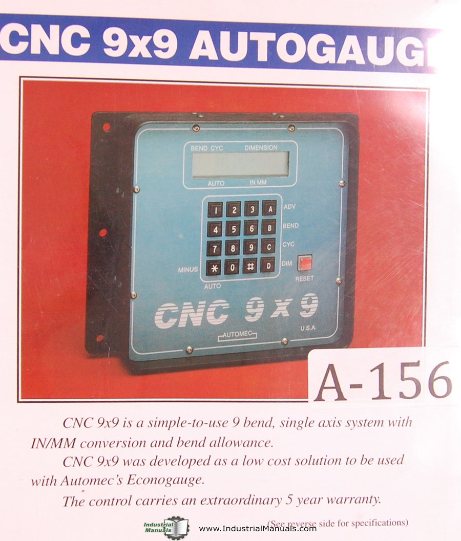 Automec Operation Maintenance Parts CNC 9x9 Autogauge Press Brake Manual:  Automec: Amazon.com: Books
