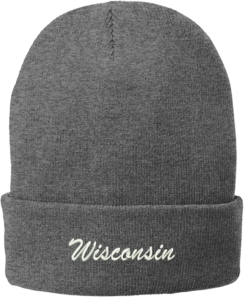 Trendy Apparel Shop Wisconsin Embroidered Winter Folded Long Beanie