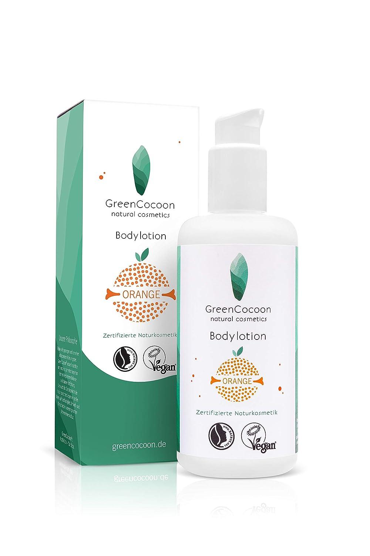 Green Cocoon® Orange BIO & VEGAN-Lait pour le corps: raffermissant, apaisant, anti-âge, hydratant - Cosmétiques naturels avec de l'eau de fleur de tilleul bio et de l'huile d'orange - Effet rapide GreenCocoon®