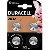 Duracell - Pilas de botón de litio 2032 de 3 V, paquete de 4, con Tecnología Baby Secure, para uso en llaves con sensor…