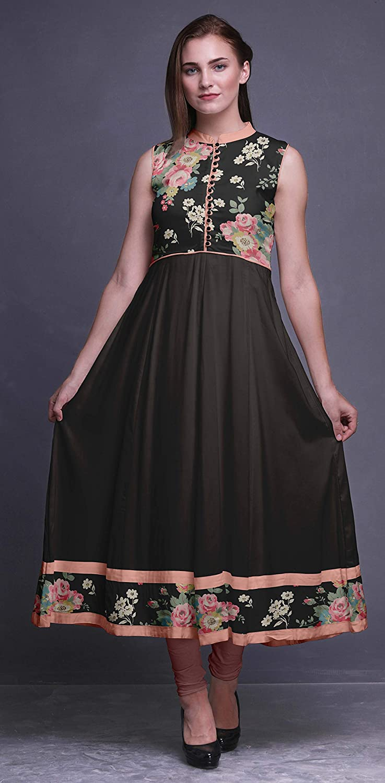 Bimba Watercolor Anarkali Dress Mandarin Collar Sleeveless Kurtis for Women Print Maxi Dress